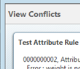 "Select ""View Conflicts"" to perform an attribute check."