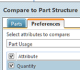 "Users can select preferences for BOM comparisono in the ""Compare to Part Structure"" window."