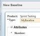 Enter Name, Description, and other attribute information in the New Baseline window.