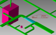 Cableways routed along complex path with automatic support selection based on segment type.