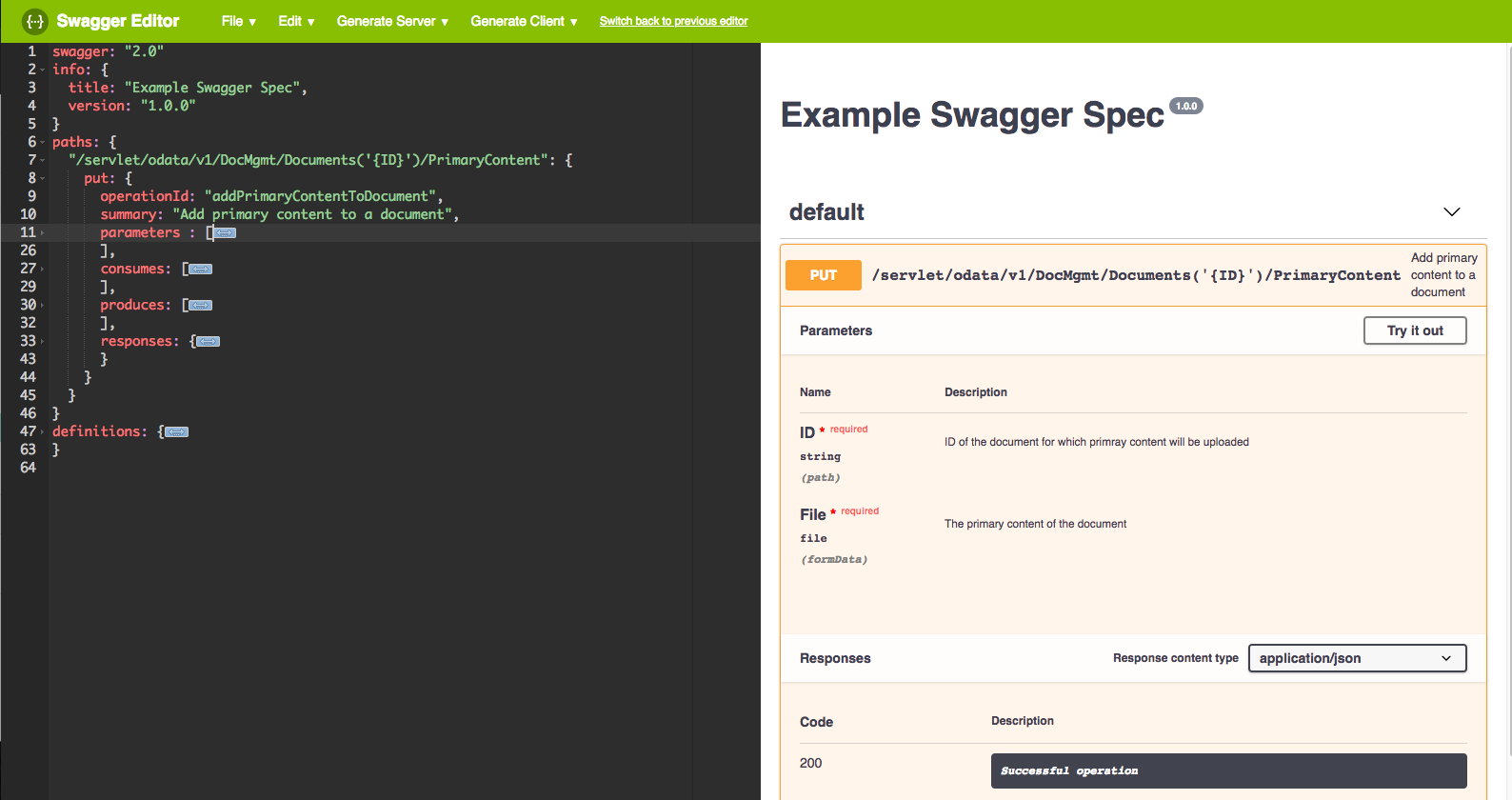 Adding Unavailable Endpoints Using a Swagger Specification