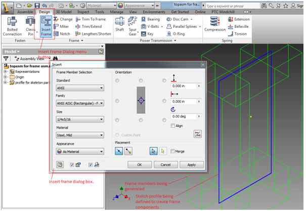 Using Autodesk Inventor Frame Generator with Windchill
