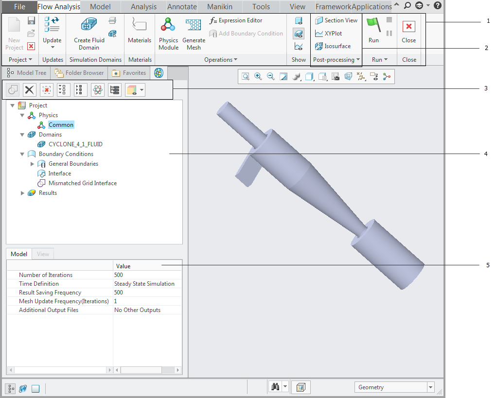 Interface for Creo Flow Analysis