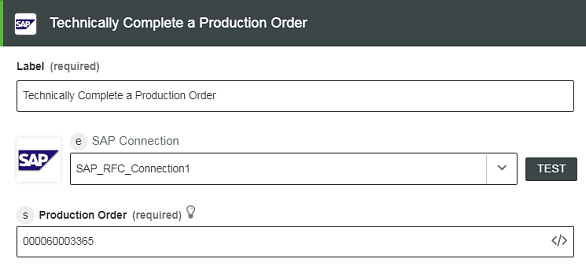 Technically Complete a Production Order