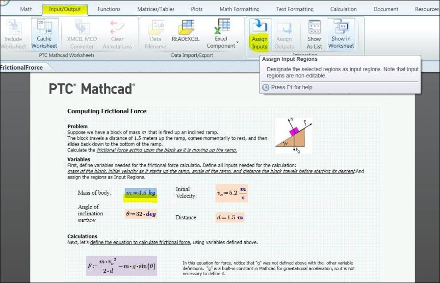 Create a Mathcad Worksheet