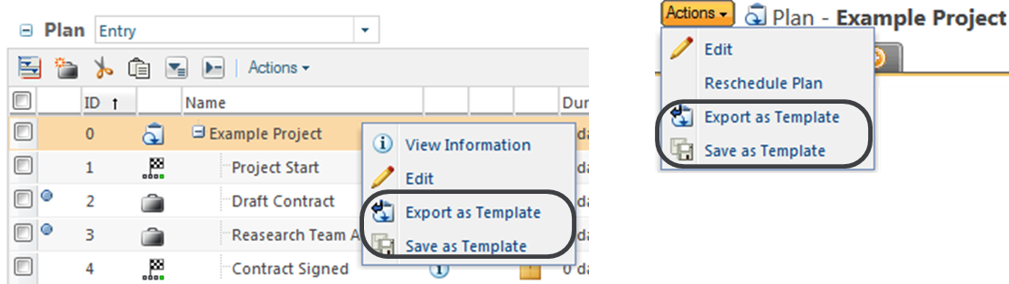 Export The Plan Template To A ZIP File