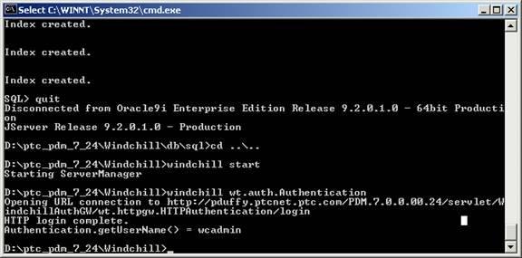 Starting the PTC HTTP Server and the Windchill Method Servers