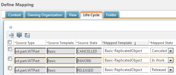 For Example The Mappings Basic Life Cycle Template To Be Used Replicated WTPart Objects Are