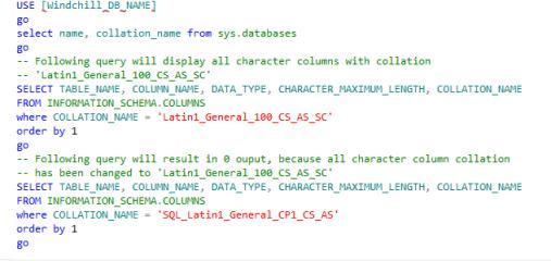 Changing SQL Server Database Collation