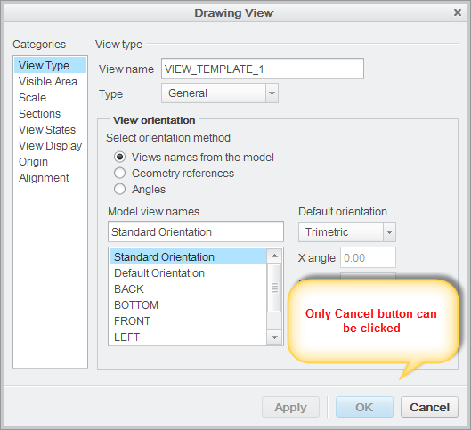 Drawing View dialog
