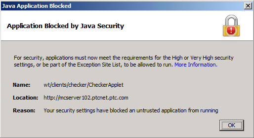 Application Blocked by Java Security Warning